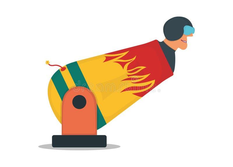 Circo macho com arma de personagem, canhão com ícone de canhão humano isolado em ilustração de vetor plana branca Desempenho peri ilustração stock