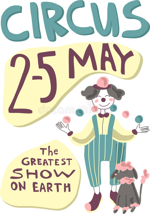Circo o manifesto di carnevale con le giocoliere dell'artista e gli animali preparati Illustrazione di manifesto di vettore royalty illustrazione gratis