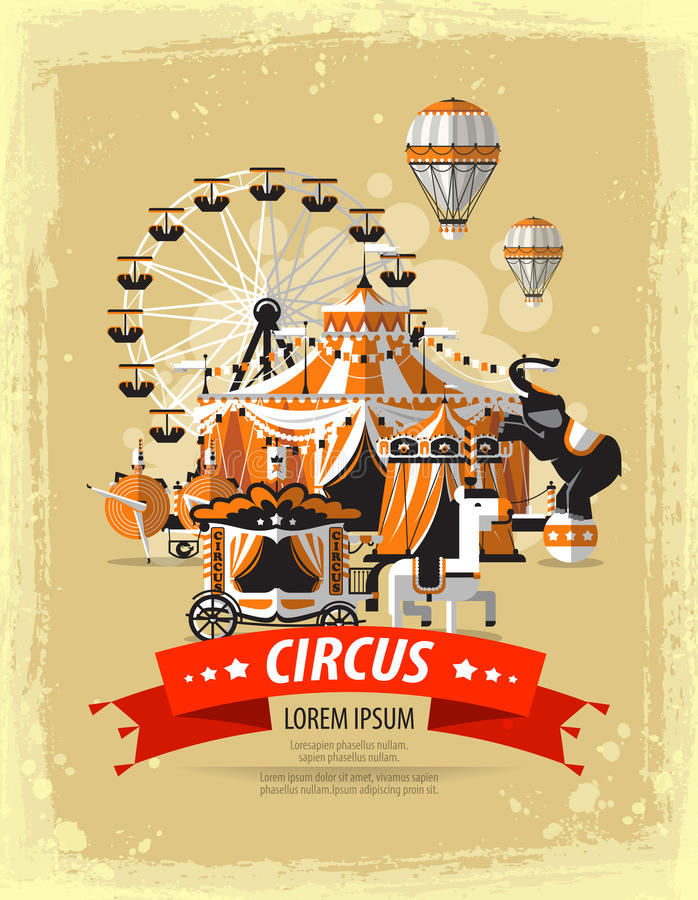 Circo, parque de atracciones, carnaval Ilustración del vector stock de ilustración