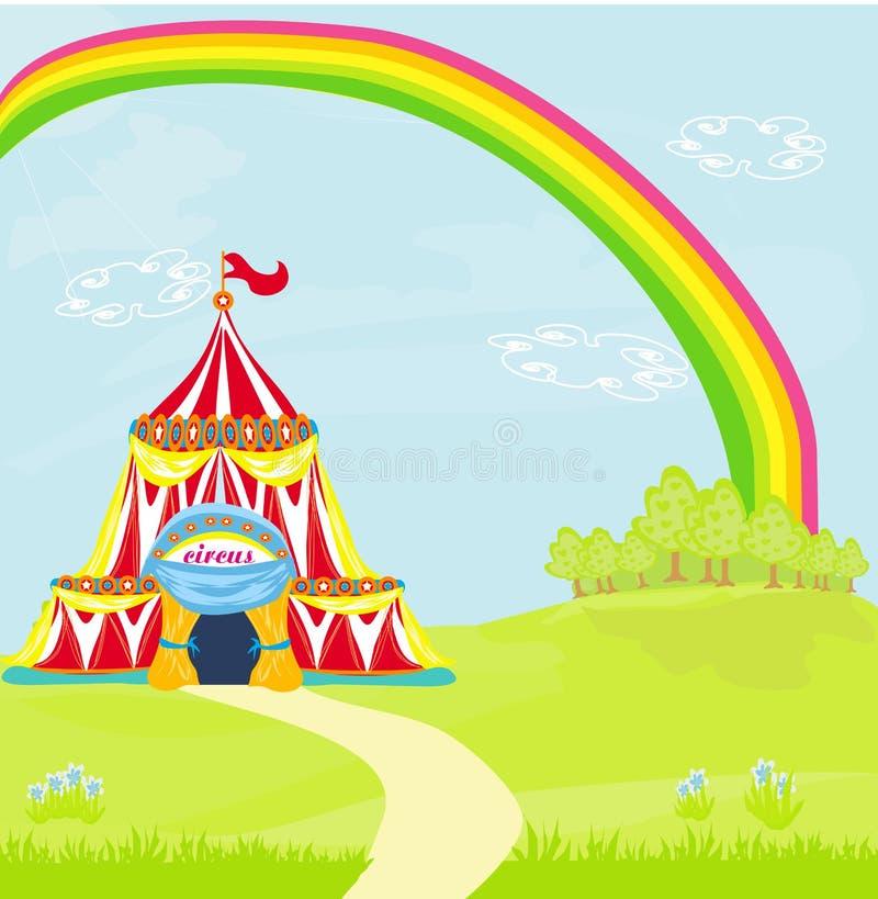 Circo que viaja debajo del arco iris ilustración del vector