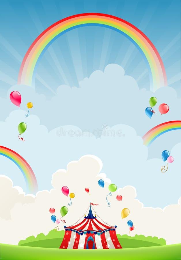 Circo que viaja y arco iris stock de ilustración