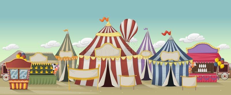 Circo retro de la historieta con las tiendas stock de ilustración