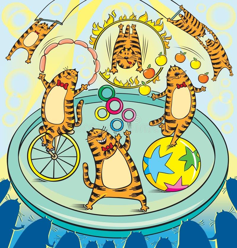 Circo rojo de los artistas de los gatos stock de ilustración