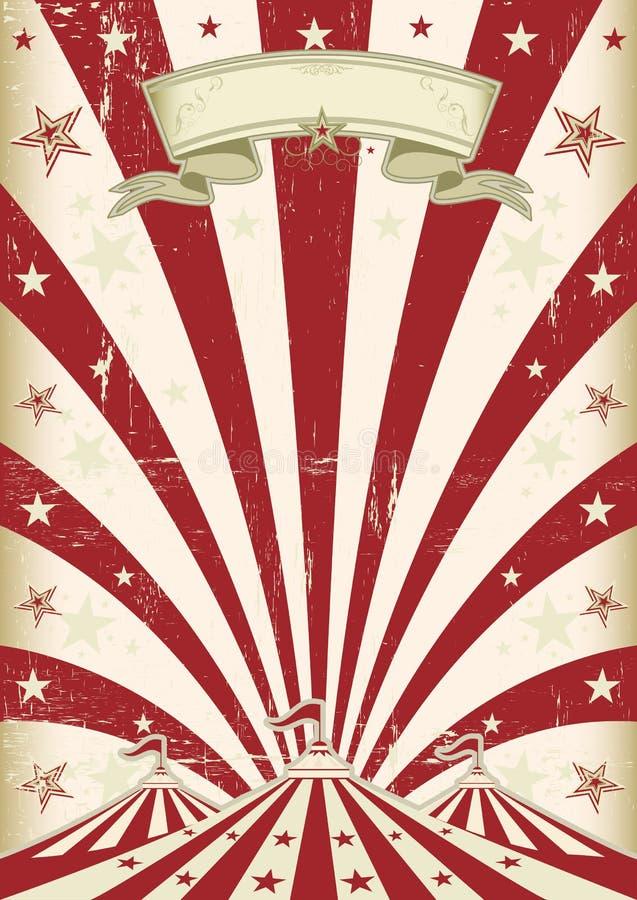 Circo rojo del sol del vintage stock de ilustración