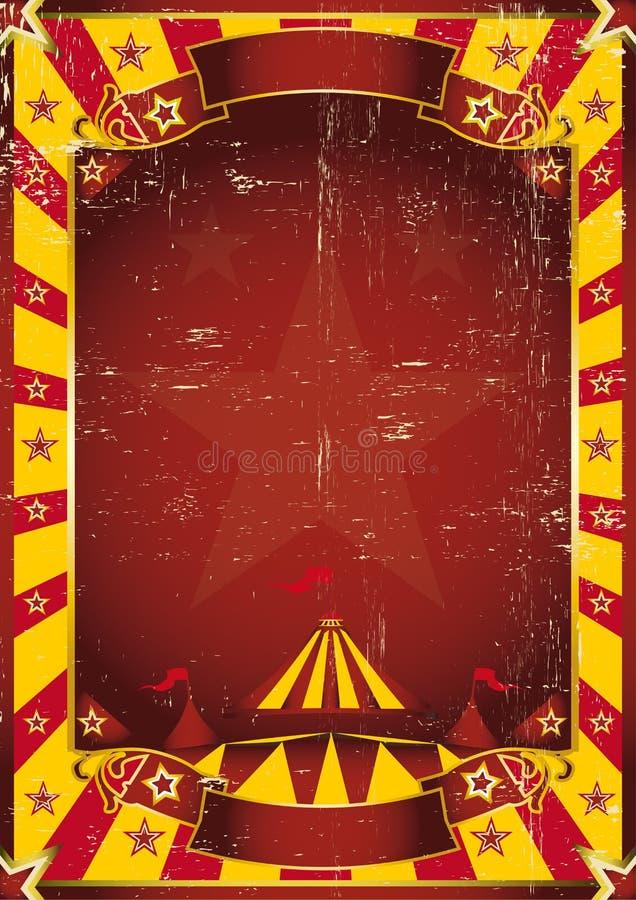 Circo sucio amarillo del cartel stock de ilustración