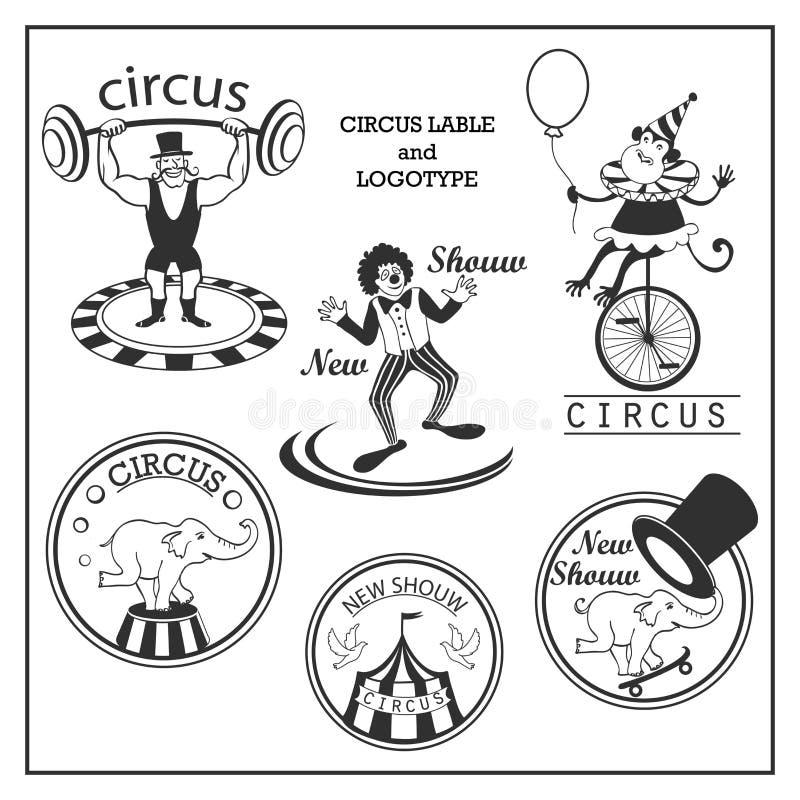 Circo y logotipo del bosquejo en estilo del vintage ilustración del vector
