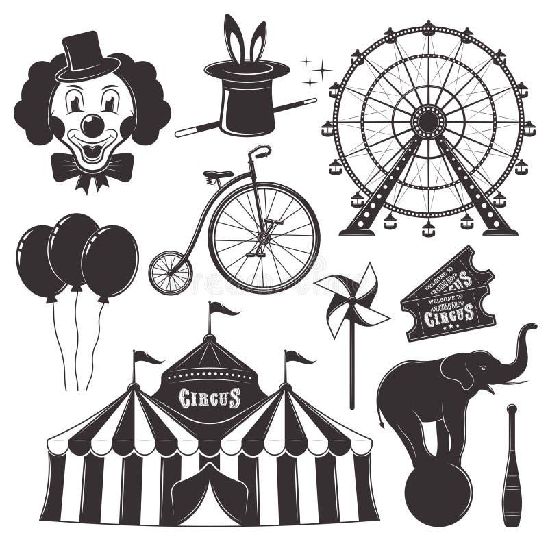 Circo y objetos del negro del vector del parque de atracciones stock de ilustración