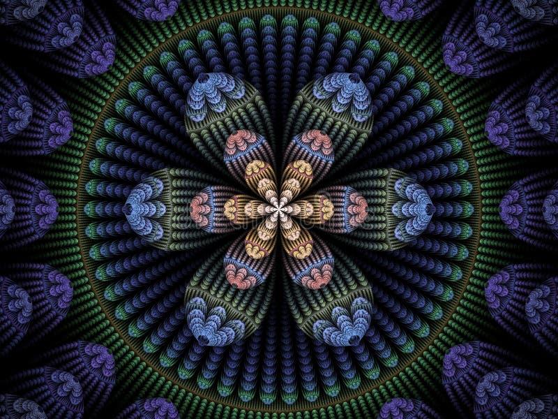 Circolare blu, verde, di rosa e della pesca e frattale floreale della fiamma illustrazione vettoriale