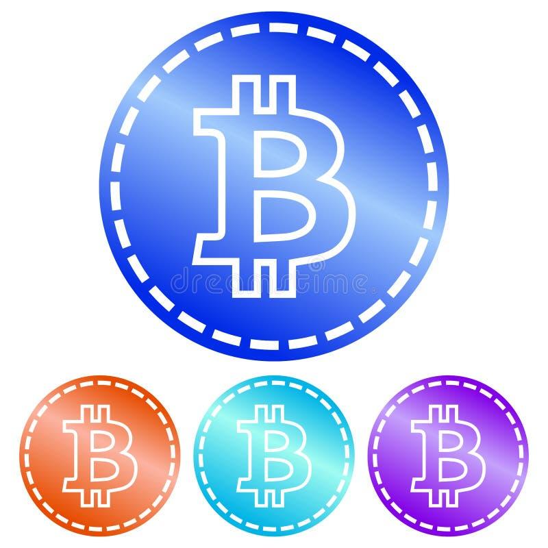 Circolare, brillante, moneta di logo del bitcoin di pendenza Profilo bianco tratteggiato Quattro variazioni royalty illustrazione gratis