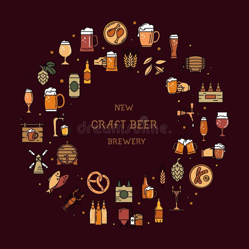 Circolare un grande insieme delle icone variopinte sull'argomento di birra illustrazione di stock