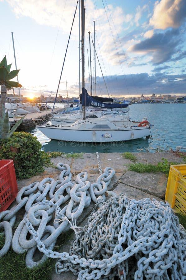 Circolo Nautico NIC Porto di Catania - Sicilia Itália Italia - terras comuns criativas pelo gnuckx imagens de stock