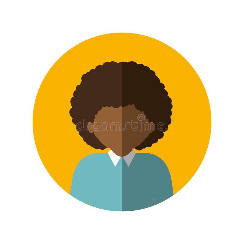 Circondi con il mezzo uomo di afro del corpo con capelli ricci ed ombra media illustrazione di stock