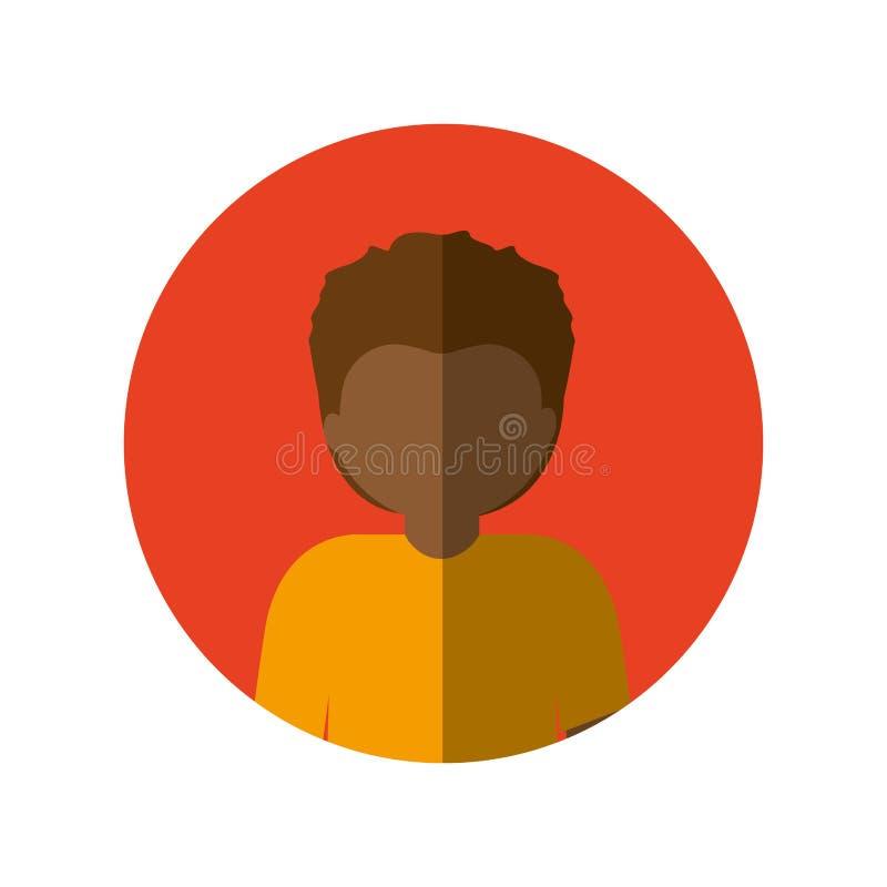 Circondi con il mezzo uomo di afro del corpo con i capelli di scarsità e l'ombra media illustrazione di stock
