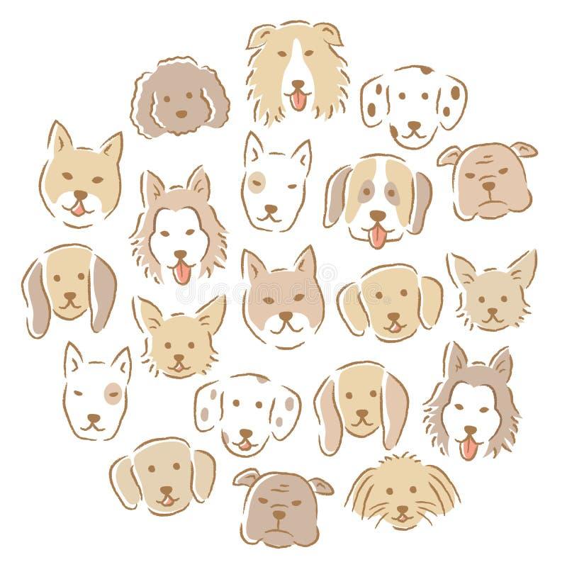 Circondi con l'insieme di vari fronti svegli del cane Illustrazione disegnata a mano illustrazione vettoriale