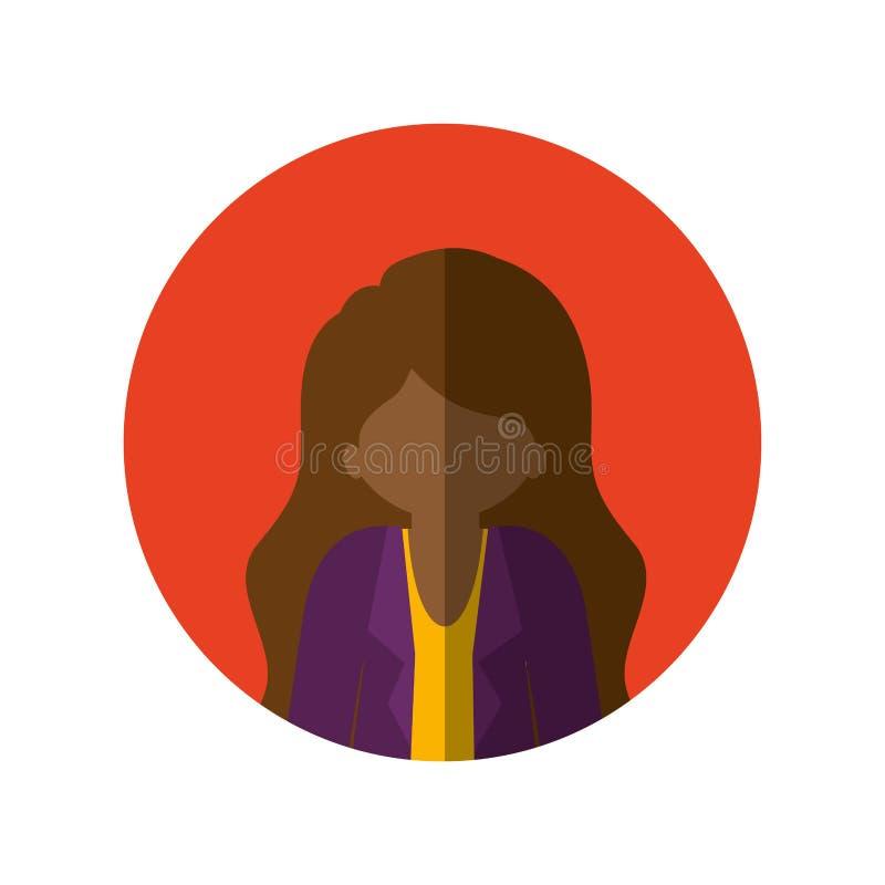 Circondi con la mezza donna di afro del corpo con il rivestimento e l'ombra media lunga e del capelli illustrazione vettoriale