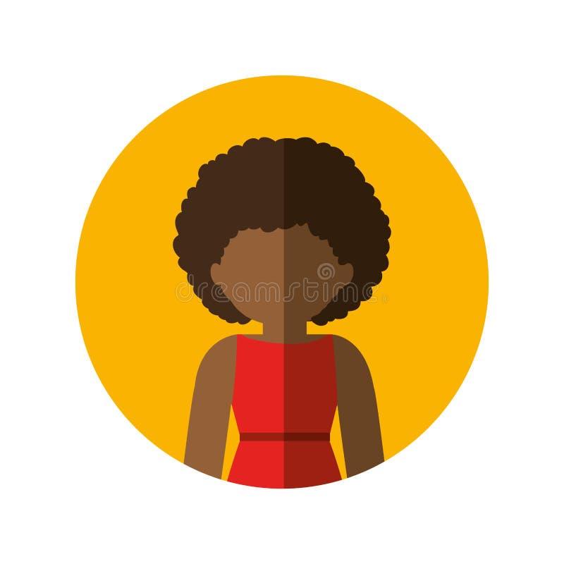 Circondi con la mezza donna di afro del corpo in vestito con capelli ricci ed ombra media illustrazione vettoriale
