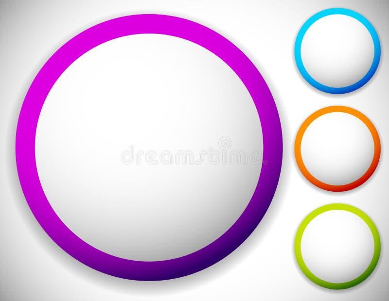 Circondi il bottone, ambiti di provenienza in bianco del distintivo nel colore quattro illustrazione vettoriale