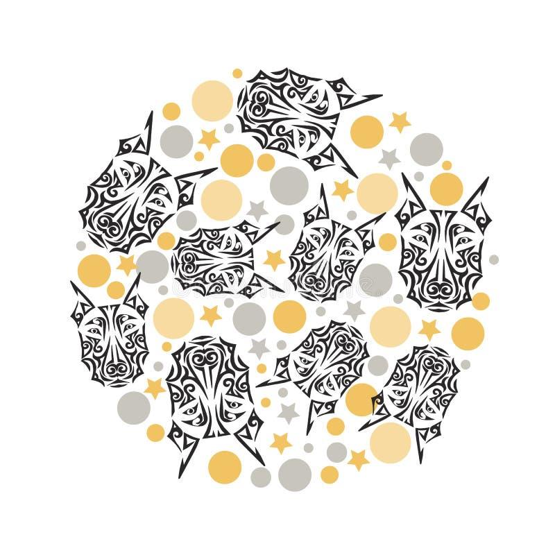 Circondi il concetto con il tatuaggio, i cerchi e le stelle maori del fronte stilizzati testa di cane del doberman illustrazione vettoriale