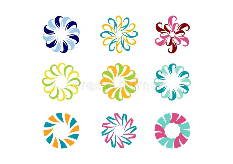 Circondi il logo, il modello floreale, insieme di progettazione astratta rotonda di vettore del modello di fiore dell'infinito illustrazione vettoriale