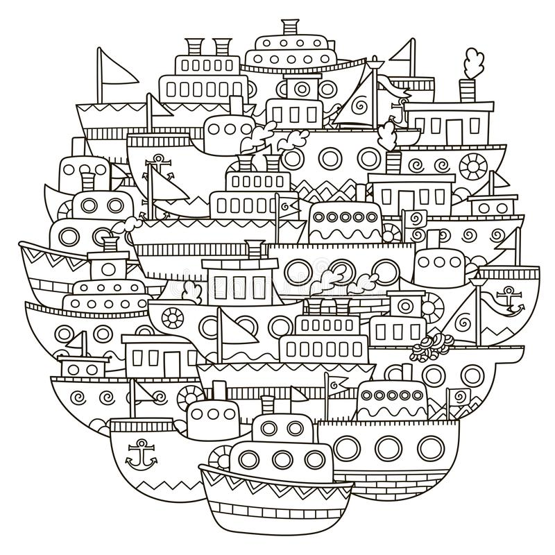 Circondi il modello di forma con le barche sveglie di scarabocchio per il libro da colorare royalty illustrazione gratis