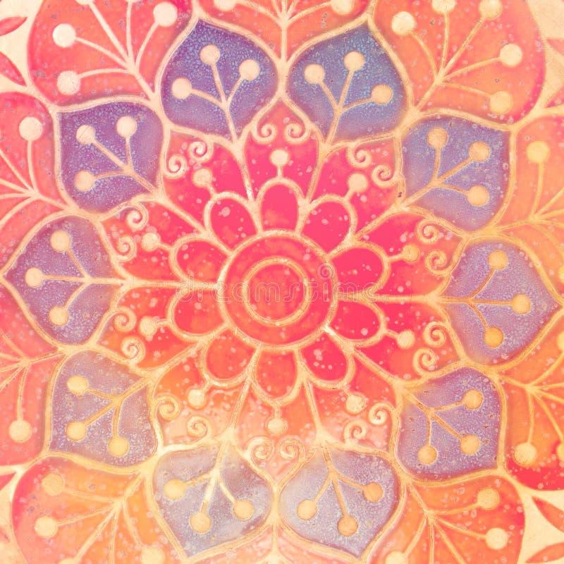 Circondi il simbolo indiano spirituale decorativo del fiore di loto fotografia stock