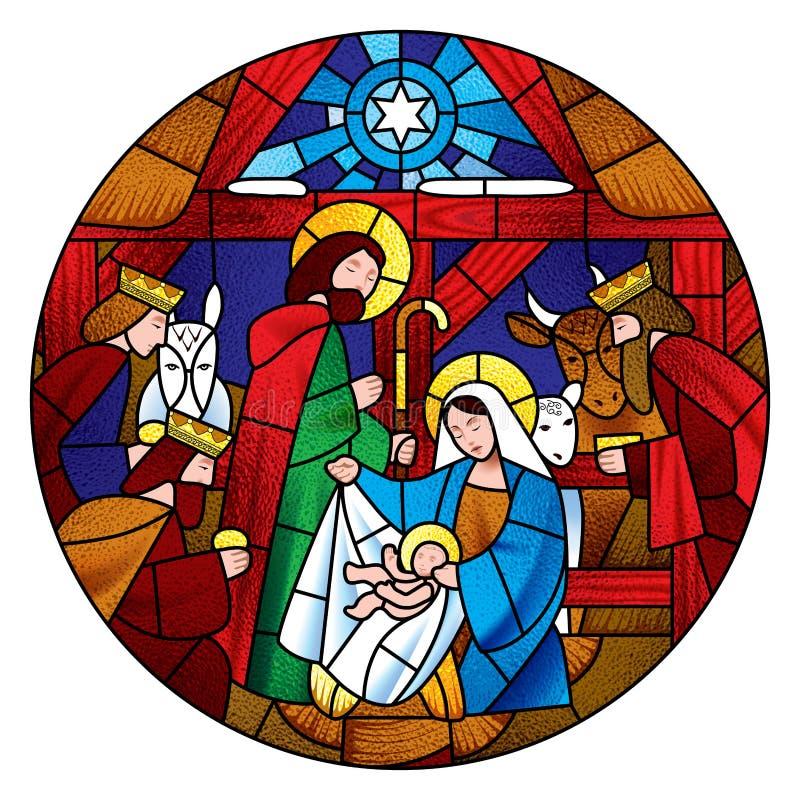 Circondi la forma con il Natale e l'adorazione della scena del Re Magi illustrazione di stock