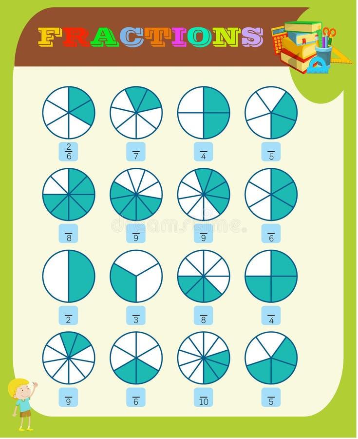 circondi la frazione corretta, la matematica, foglio di lavoro di per la matematica per i bambini Frazioni aggiunta, fogli di lav royalty illustrazione gratis