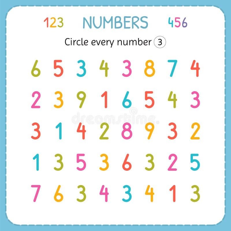 Circondi ogni numero tre Numeri per i bambini Foglio di lavoro per l'asilo e la scuola materna Formazione per scrivere e contare  illustrazione vettoriale