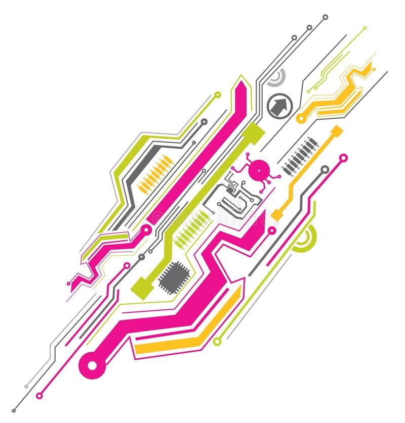 Circuit électronique coloré illustration libre de droits
