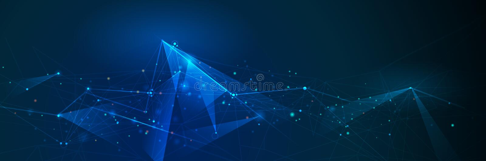 Abstract Molecules banner with line, geometric, polygon. Vector design network background. Modern science, chemistry technology concept for website, business stock illustration