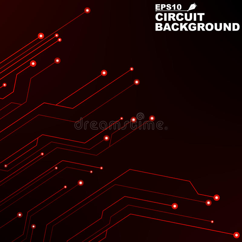 Circuit. Black abstract background of digital technology. New technologies in design. Computer network. Red, glowing neon lines. Computer system stock illustration