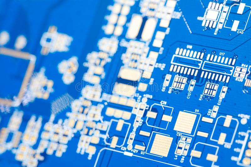 Circuit blue board. Electronic computer hardware technology. Motherboard digital chip. royalty free stock image