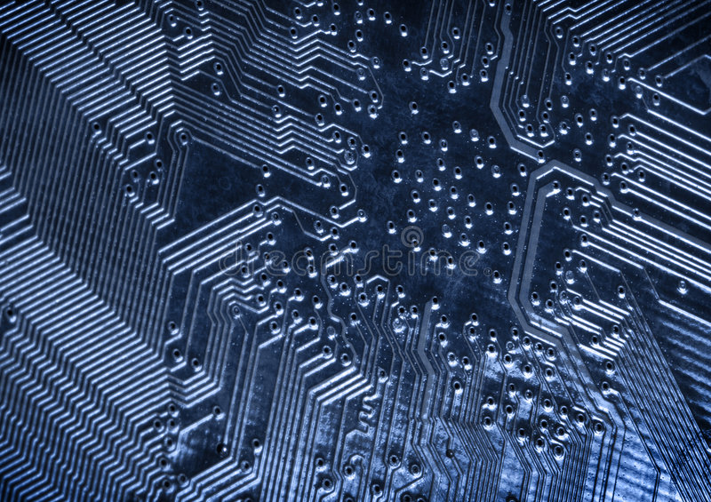 Circuit board. Blue circuit board, extreme macro royalty free stock photo