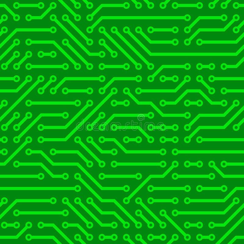 Circuit Board. Green computer circuit board. Seamless pattern stock illustration