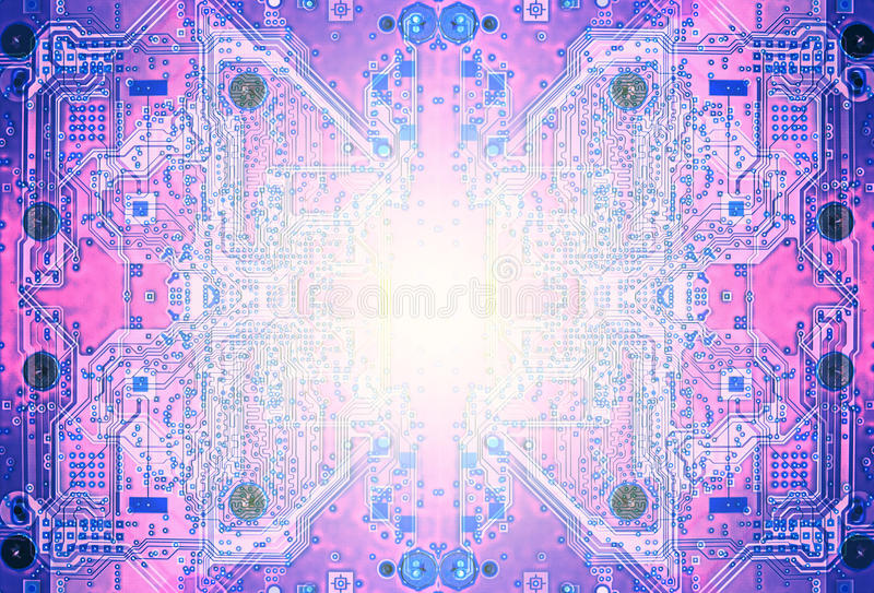 Circuit board abstract purple color. Purpe circuit board of a modern computer IT component with whiteflare artificial intelligence royalty free illustration