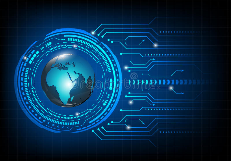 Circuit board background. Global networking concept. Circuit blue board background. Global networking concept stock illustration