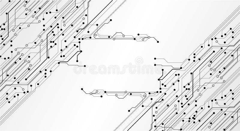 high tech electronic pcb printed circuit board with processor and microchips stock illustration
