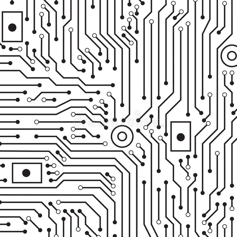 circuit board black and white background stock vector