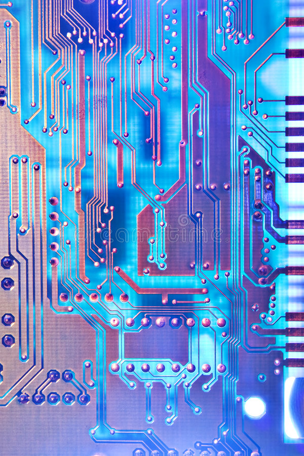 Circuit board in blue royalty free stock photos