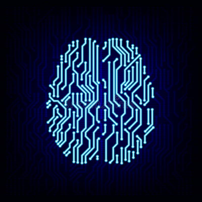 Circuit board brain concept. Vector illustration. stock illustration
