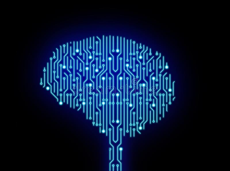 Circuit board in brain shape on black. High-tech technology vector illustration