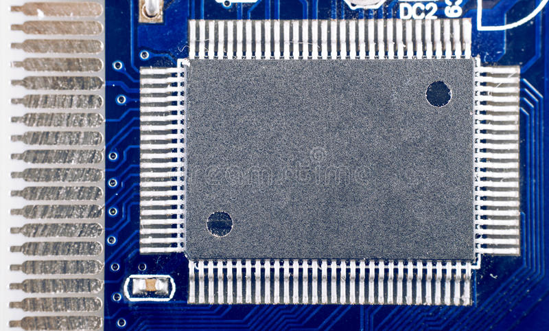 Circuit board chip closeup stock image