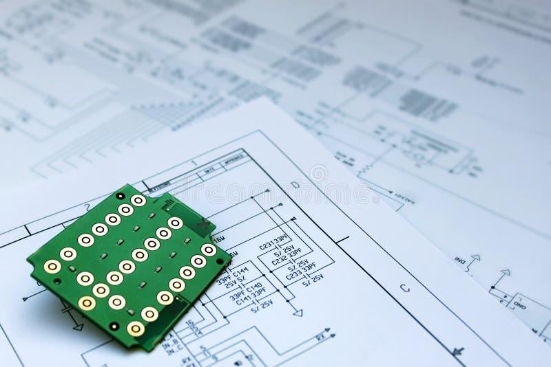 Circuit board and circuit diagram stock photos