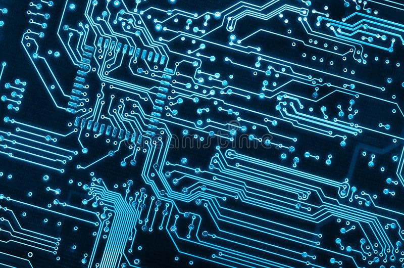 Circuit Board. Close up background of a blue electronic circuit board stock images