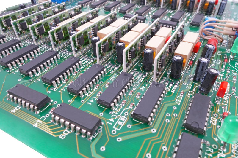 Circuit board. Closeup of electronic circuit board royalty free stock images