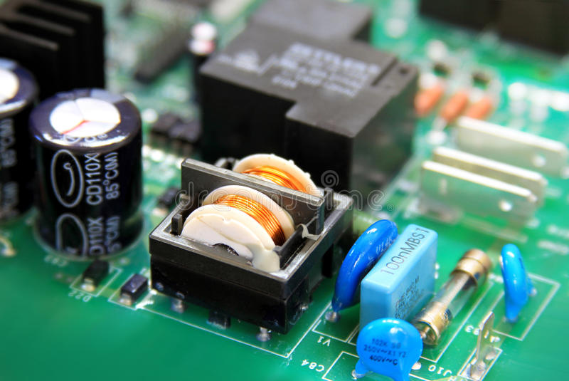 Circuit board with components stock images
