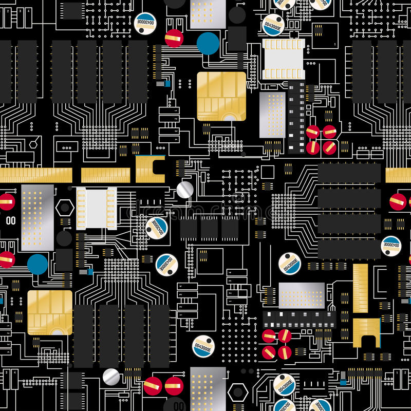 Circuit board with components and wires seamless pattern stock illustration