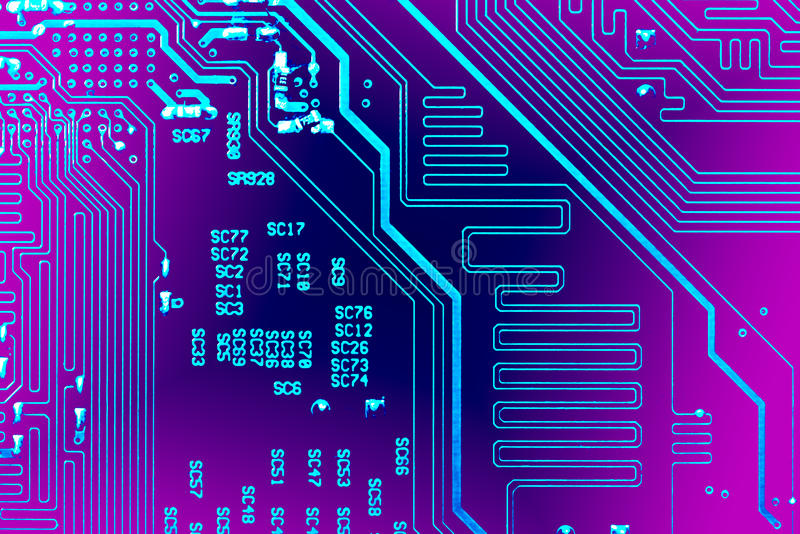 Circuit board. Electronic computer hardware technology. Motherboard digital chip. Tech science background. Integrated communication processor. Information royalty free stock image