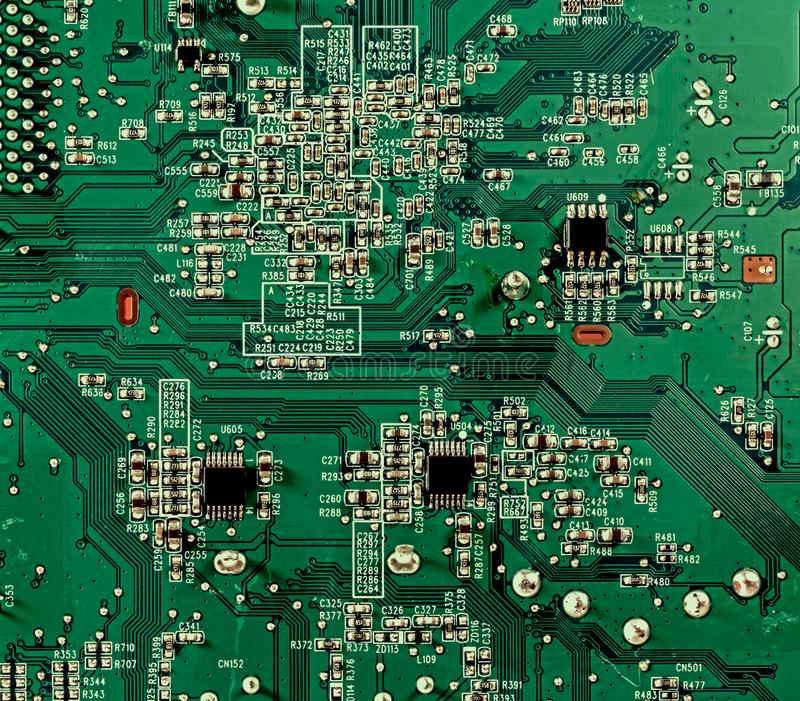 Television electronic board full frame. Electronic circuit board full frame royalty free stock photo