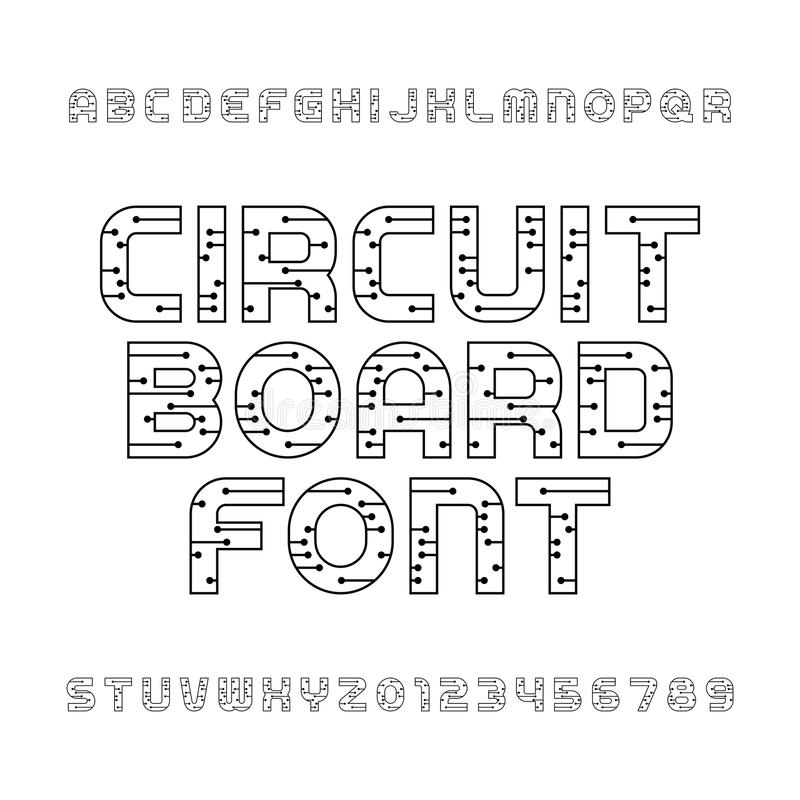 Circuit Board Font. Vector Alphabet. Stock Vector - Illustration of ...